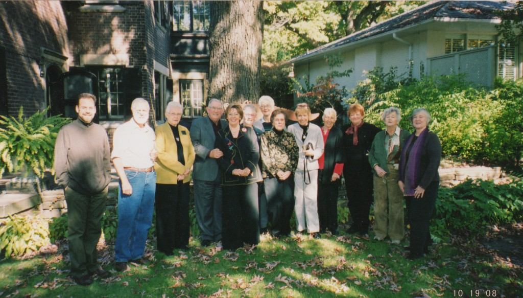 GBW group gathered at Betsy Eldridge's home in Toronto: L to R - asst. to M. Wilcox, Wilcox, Margaret H Johnson, Don Etherington, Monique Lallier, Betsy Eldridge, Deborah Evetts, Mary Schlosser, Jean Stephenson, Barbara