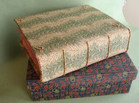 Interpretive binding for Johnny Carrera's Pictorial Webster's. Waltham: Quercus Press, 2009. Textile jacket with embroidered metal beads over quarter calf scaleboard binding. GBW, New England Chapter exhibition, 2011. Cloth-covered box. Sold.